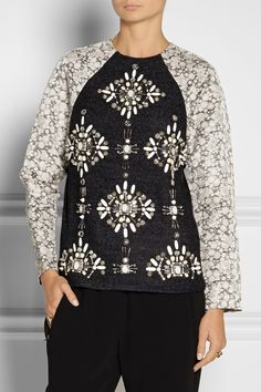 Biyan|Jewel embellished bouclé and taffeta top|NET-A-PORTER.COM
