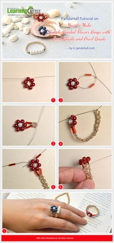 PandaHall Tutorial on How to Make Simple Beaded Flower Rings with Seed Beads and Pearl Beads
