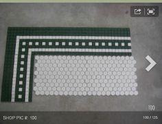 Self Designed Bathroom Floor Tile Pattern Penny Tile Floors, Bathroom Floor Tiles, Mosaic Tile Shower Floor, Tiled Floors, Vintage Tile Floor, Vintage Bathroom Floor, Vintage Bathrooms, Dream Bathrooms, White Bathroom