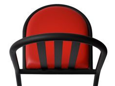 #MalletStevens Stackable chair with seat and back in matt black lacquered metal sheet or with faux leather upholstered seat and back in matt black lacquered metal sheet. Color of the metal sheet seat: Matt Black Colors of the seat with pillow: Yellow, Red, Black, White. Robert Mallet Stevens 1930 Size cm. L 44 -W 51 - H 82 - H seat 44  Structure in iron diameter mm 25x1,5.