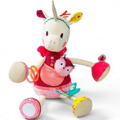 idée cadeau pour bébé : louise la licorne, jouet  bébé marque Lilliputiens  Peluche d'activités et d'éveil unmaxdidees.com