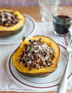 With so many beautiful and unusual squashes showing up in markets right now, I can't seem to come home without at least one knobby, colorful, speckled new squash in my bag. Happily, stuffed squash is a dish that will work for just about any winter squash I happen to pick up. You don't really need a recipe — just a few basic steps and dinner practically makes itself.