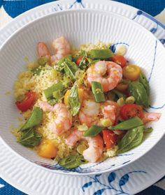 Lemony Shrimp Salad With Couscous. This was a good lunch for a couple days. You can definitely add different veggies and dressings to change it up.