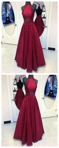 Burgundy round neck long prom dress, burgundy evening dress P0920 #promdresses #longpromdress #2018promdresses #fashionpromdresses #charmingpromdresses #2018newstyles #fashions #styles #hiprom #prom #burgundy