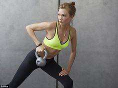 Fighting fit: The sculpted stunner switches it up with a wide range of workouts; including ballet, Pilates, weights training, running and spinning