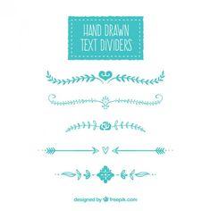 Divisores de texto desenhados mão Vetor grátis