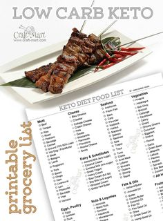 This printable ist is actually a General Ketogenic Diet Food list PDF file that marks Zero Carb foods with a circle-shaped bullet. Keto Diet Grocery List, Low Carb Food List, Ketogenic Diet Food List, Ketogenic Recipes, Low Carb Recipes, Paleo Food, Keto Meal, Diet Plan Menu, Detox Recipes