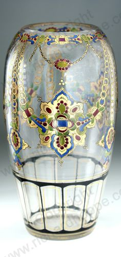 ANTIQUE 1910-20 MÜHLHAUS & CO HAIDA REVIVAL STYLE COLD ENAMELLED GLASS VASE. Item # on website: 1887