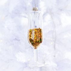 Pop some bubbly this holiday! This miniature champagne glass ornament is filled with oversized gold glitter and makes a chic statement on your tree. Christmas Hanukkah, Christmas Crafts, Holiday Ornaments, Glass Ornaments, Champagne Christmas Tree, End Of Season Sale, Paper Source, Paper Gifts, Home Gifts