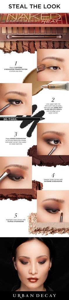 Achieve this bold Smoky Eye in 5 easy steps using Urban Decay's new Naked Heat Palette. #NakedHeat