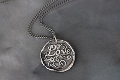 Sterling Silver LOVE Pendant // Wax Seal Stamp // 17 inch Sterling Silver Curb Chain on Etsy, $52.00