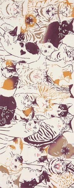 Japanese Tenugui cotton towel fabric. Animal pattern / kawaii cats design. High quality tenugui fabrics made of soft 100% cotton cloth and hand dyed by Japanese master dyers. [ H o w T o U s e ] * towel * washcloth * dishcloth * headband / bandanna * scarf * wall hanging (like a