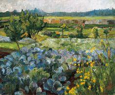 Hermann Stenner (alemán, 1891-1914), Landschaft mit Kohlfeld [Paisaje con el campo de la col], 1909. Óleo sobre lienzo, 49 x 59 cm.