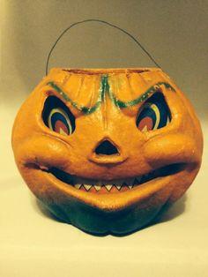 Vintage Paper Mache Halloween Jack O Lantern Pumpkin | eBay