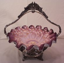 Very Large Mt. Washington Bride's Bowl in Meredian Silver Plate Frame circa 1900