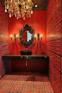 red black bathroom glamour greek key chandeliers
