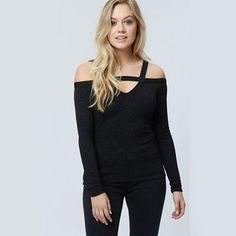 Jane Norman Black glitter textured bardot top | Debenhams
