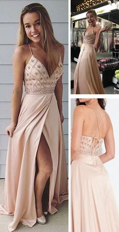 Spaghetti Straps Prom Dresses,long Prom Dress, Beaded Prom Gown,party Dress With Side Slit on Luulla Homecoming Dresses Long, Straps Prom Dresses, Hoco Dresses, Ball Dresses, Pretty Dresses, Beautiful Dresses, Ball Gowns, Evening Dresses, Bridesmaid Dresses