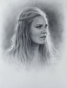 Eliza Taylor Drawing Portrait by Dry Brush
