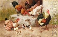 Spring Chickens - William Baptiste Baird - Oil Painting Reproductions