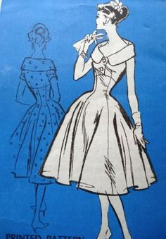 promnent designer - I love the portrait collar! Vintage Dress Patterns, Clothing Patterns, Vintage Dresses, Vintage Outfits, Vintage Clothing, 1950s Fashion, Vintage Fashion, 50 Style Dresses, Fashion Design Classes