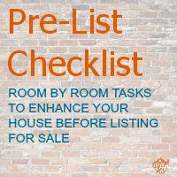 Pre-List Checklist | Tasks to enhance your house before listing for sale | Realtor Tips | Printable |