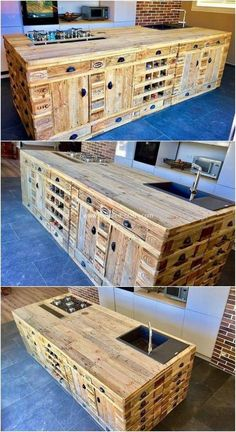 Giant and best project of the wood pallet kitchen island is resting upon here for you. This design project of wood pallet do features the whole kitchen island project designing being added with Pallet Kitchen Cabinets, Pallet Kitchen Island, Kitchen Island Storage, Kitchen Islands, Kitchen Furniture, Wood Cabinets, Furniture Stores, Furniture Market, Furniture Dolly