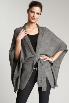 Belted Knit Poncho.. Got something similar for Christmas! Can't wait to wear it, looks so cozy!