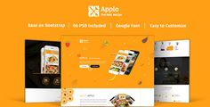 Applo - Onepage PSD Template For Recipe Application Landing Page