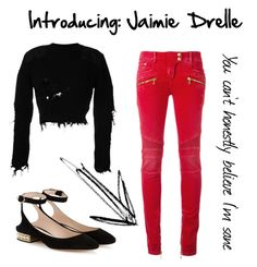 """Introducing: Jaime Drelle"" by universal-mess on Polyvore featuring Yeezy by Kanye West, Balmain, Nicholas Kirkwood, introducing and blackandred"