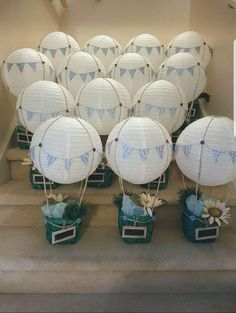 Hot air balloon center pieces baby shower centerpieces, baby shower d Hot Air Balloon Party, Hot Air Balloon Centerpieces, Baby Shower Balloon Decorations, Diy Hot Air Balloons, Its A Boy Balloons, Baby Shower Balloons, Baby Shower Centerpieces, Hot Air Ballon Diy, Baby Shower Signs