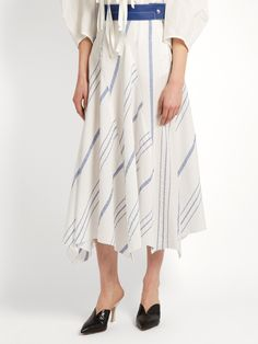 Click here to buy Loewe Striped cotton-blend midi skirt at MATCHESFASHION.COM