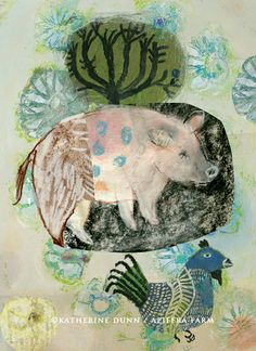 "Included in the upcoming book, ""Donkey Dream: A Love Story of Pie + Farm. Visit to help fund the book.  http://kck.st/1atG0OW Apifera Farm: where animals and art collide. Home to Katherine Dunn/artist: Pig dream"