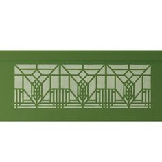 """Lake Geneva Stencil The design of this stencil is adapted from art glass windows originally found in the now demolished Lake Geneva Inn (Lake Geneva, Wisconsin, 1911). 22""""w x 8""""h. $19.99"""