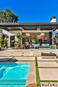 Backyard Pool Designs, Small Backyard Pools, Outdoor Living Rooms, Outdoor Spaces, Outdoor Decor, Lanai Design, Pool Landscape Design, Landscape Architecture Design, Modern Landscaping