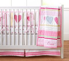 Heart Nursery Bumper Set: Bumper, Crib Fitted Sheet, Crib Skirt