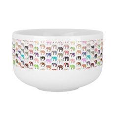 Girly Whimsical Retro Floral Elephants Pattern Soup Mug