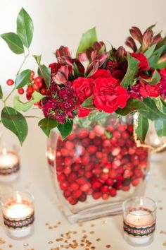 I love the cranberries in the centerpiece look (to be done in moderation of course)