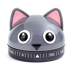 Kithchen appliances - Timer Cat Kitchen Timer in Grey image of Kikkerland®