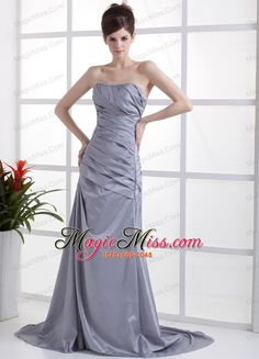Beading Decorate Bust Grey Taffeta Brush Train 2013 Prom Dress - US$153.68