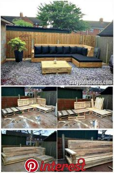 Tutorial: Pallet L-Shaped Sofa for Patio / Couch - Easy Pallet Ideas Pallet L-Shaped Sofa for Patio - Pallet Couch - Pallet Sofa - Pallet Ideas - Pallet Furniture - Pallet Projects Pallet Garden Furniture, Outdoor Furniture Plans, Outside Furniture, Pallets Garden, Diy Furniture, Antique Furniture, Rustic Furniture, Furniture Design, Furniture Storage