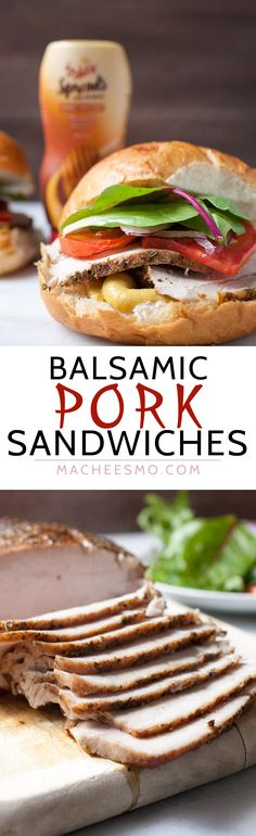 Balsamic Roasted Pork Sandwiches: Slow roasted pork glazed with a simple balsamic sauce, sliced thin, and served with honey mustard sauce and fresh veggies. Wrap Recipes, Pork Recipes, Cooking Recipes, Cookbook Recipes, Roast Pork Sandwich, Pork Roast, Pork Loin, Best Sandwich Recipes, Sandwich Ideas