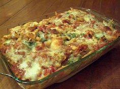 Italian bake: chicken, Italian sausage, pasta, bell pepper, onion, spag sauce x2 jars