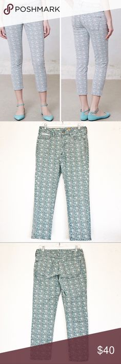 "Anthro Pilcro and the Letterpress Floral Stet Crop Anthropologie Pilcro and the Letterpress Floral Crop Jeans.  Will be so cute for summer.  Light blue and white floral print.  Zip and button closure.  In excellent condition.   Measurements laid flat: Waist:  15"" Hip:  19"" Thigh:  9.5"" Opening:  6"" Inseam:  25.5"" Rise: 9"" *Measurements are approximate. E16 Anthropologie Jeans Ankle & Cropped"