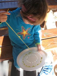 """First steps in sewing - using a polystyrene plate ("""",)"""