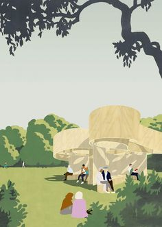 The Serpentine Gallery has unveiled the 4 designs for the 2016 Serpentine Summer House in London. Get to know Barkow Leibinger proposal for the park. Architecture Program, Architecture Collage, Architecture Graphics, Architecture Visualization, Architecture Drawings, Landscape Architecture, Architecture Design, Kairo, Architect Drawing
