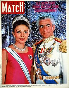 Official portrait of Mohammad Reza Shah Pahlavi with Shahbanou Empress Farah for their Coronation in Tehran, Iran on the cover of PARIS MATCH n°965 du 07 octobre 1967 http://museumviews.com/