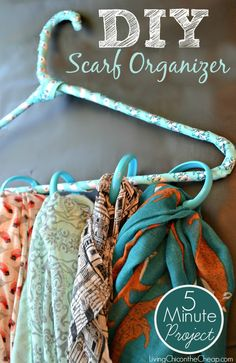 "***DIY Scarf Organizer*** Here is a super easy and inexpensive DIY! We will file this one under the ""Dollar Store Craft"" section because everything you need to complete this craft can be found at your local Dollar Tree. You can also make this in about 5 minutes or less….less if you choose to forgo wrapping the hanger in ribbon or cloth. #DIY #craft"