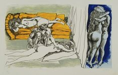 From Roseberys, Renato Guttuso, Il Serraglio di Fatme A suite of six etchings with aquatint, five with aquatint in colours, with cover sheet in Ita… Drawing Sketches, Drawings, Artsy, Italian Painters, Expressions, Art Archive, Color Names, Erotic Art, Figure Drawing