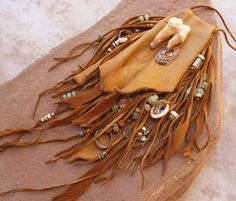 Golden Tan Deerhide Medicine Pouch with Fossil by deserttalismans, $245.00